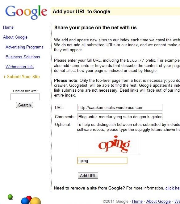 Add url ke mesin pencari Google